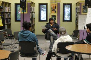 Shyan Selah speaking to kids at Illahee Middle School
