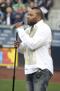 Shyan Selah performing the National Anthem at Petco Park. Courtesy of San Diego Padres.